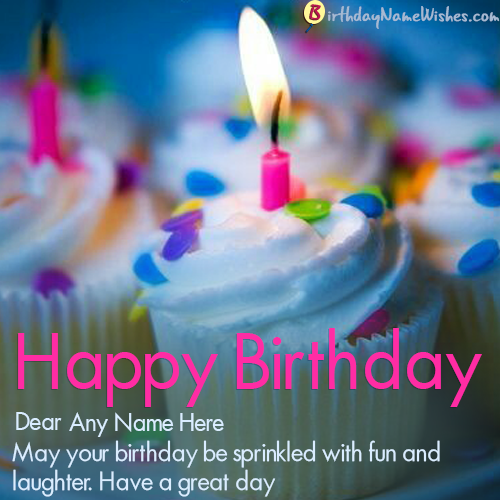 Beautiful Happy Birthday Card With Name Editor Online