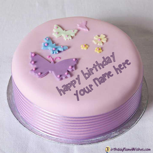 Butterflies Birthday Cake For Girls Name Generator