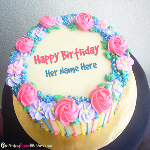 Colorful Flowers Decorated Name Birthday Cake For Girlfriend