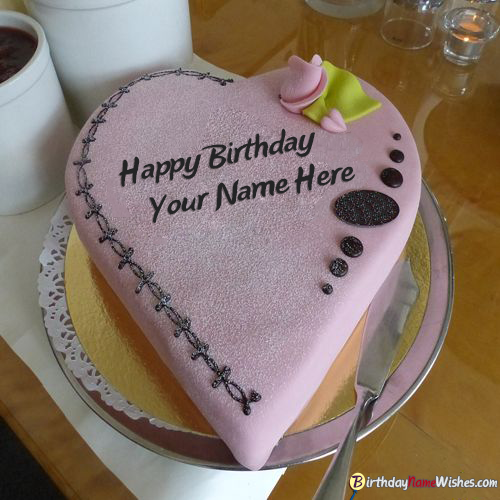 Heart Shape Love Birthday Cake With Name Edit