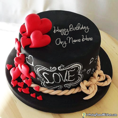 Hearts Romantic Birthday Cake For Husband With Name