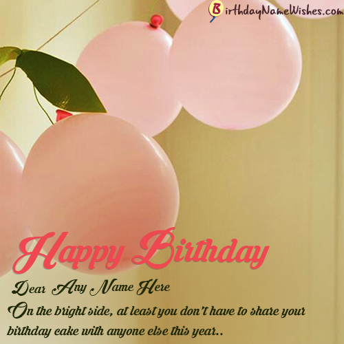 Pink Balloons Happy Birthday Wishes Add Name For Girls