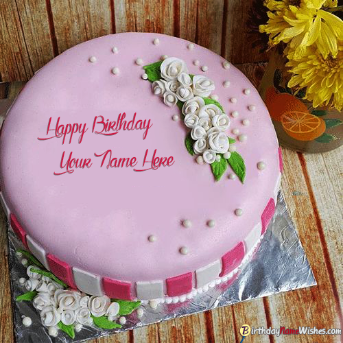 Pink Birthday Cake For Lover With White Roses