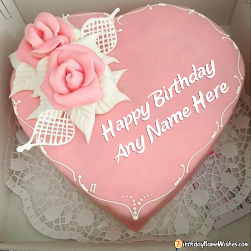 Pink Heart Birthday Cake For Girlfriend With Name