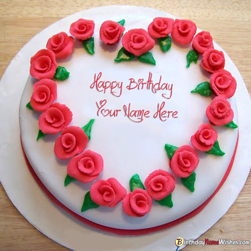 Roses Heart Birthday Cake For Lover With Name