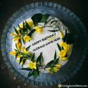 Yellow Roses Birthday Cake For Husband With Name