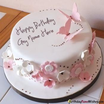 Butterfly Elegant Birthday Cake For Girls Name Generator