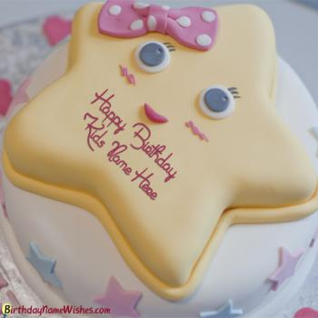 Cute Star Birthday Cake For Kids With Name Editing