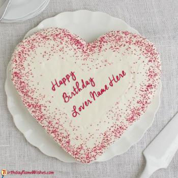 Heart Birthday Cake For Lover With Name Editing