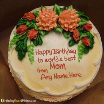 Lovely Birthday Cake For Mom With Name Generator
