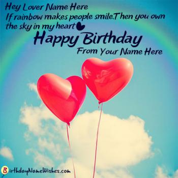 Lovers Hearts Birthday Wishes With Name Editor