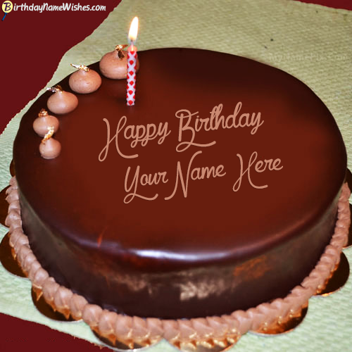 Chocolate Birthay Cake With Candle For Husband Name
