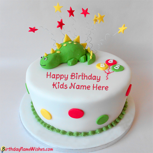 Dinosaur Design Name Birthday Cake For Kids Photo