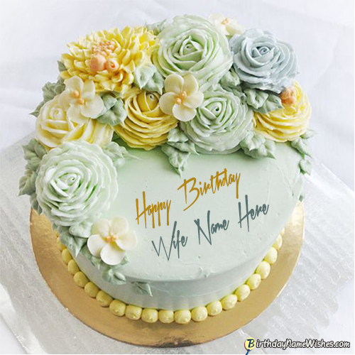 Elegant Happy Birthday Cake For Wife With Name Edit
