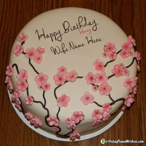 Bday Cake Images For Wife : Flowers Birthday Cake For Wife Name Generator