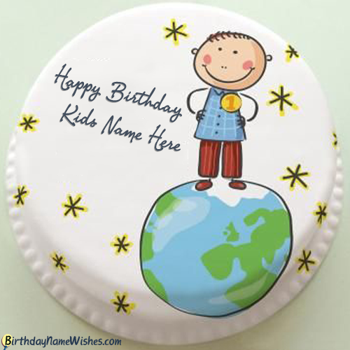 Intelligent Boy Birthday Cake for kids With Name Editing