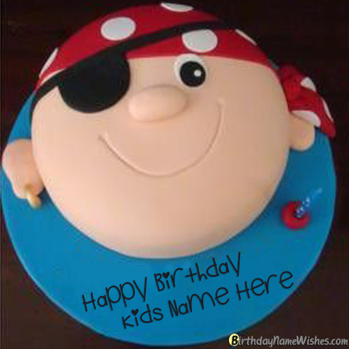 Pirate Birthday Cake For Kids Boys With Name Editor